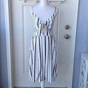 Fancyinn• Striped Tie-Front Cut-Out Button Dress